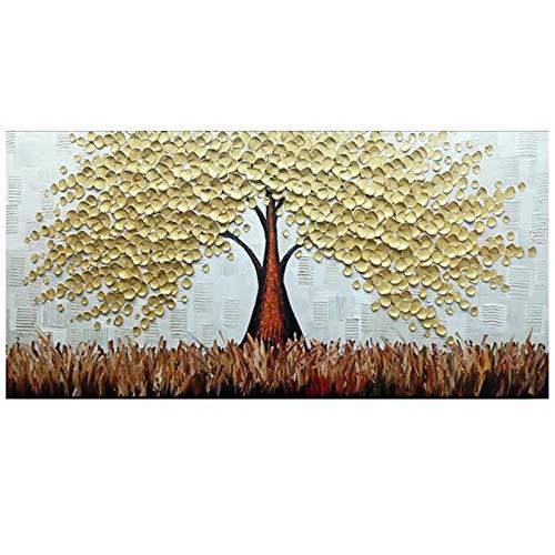 Schilderij Gouden Lucky Boom Canvas Schilderij Interieur Woonkamer Eetkamer Muur Art Palette Mes Handgeschilderd Olieverfschilderij WHITE 60x120cm