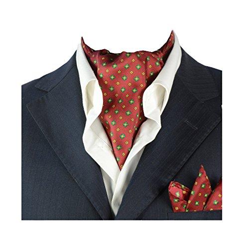 Coffret Cadeau Ensemble Cravate Ascot Avec Mouchoir De Poche Double-face Homme En Pure Soie Vintage Pour Travail Mariage Cérémonie Fête Noel A Motifs