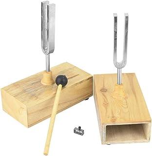 440HZ Tuning Fork Virbration Experimental Instrument with Wood Resonator Box + Knockerd Tuning Fork