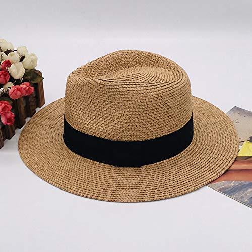 Sombrero de Panamá para Mujer, Sombrero de Verano, Visera de Paja Blanca Coreana