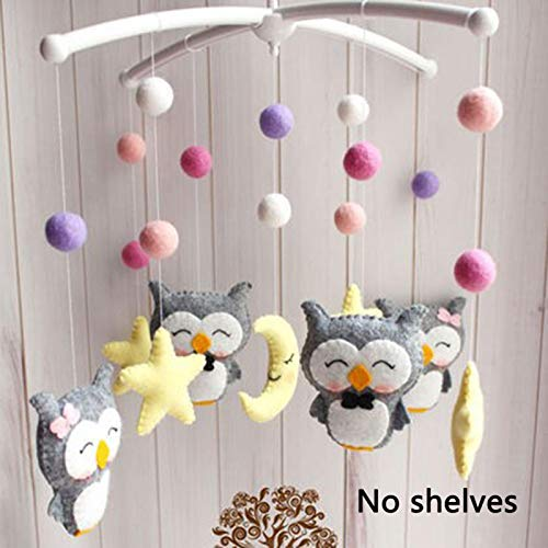 QOTSTEOS Non-woven Fabric DIY Bed Bell Without Bracket Rattles Toy Baby Crib Mobile Hanging Rotating Bed Bell Toys Gift Toy Newborn Infant Pregnant Mom Handmade(Purple)