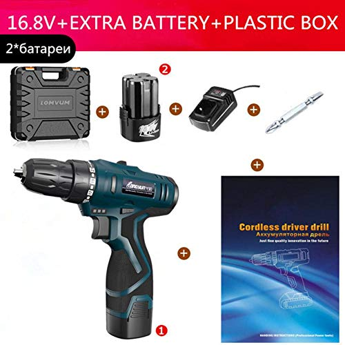 fish   Lithium Battery Electric Screwdriver Precision Charging Electric Drill bit Cordless Drill Torque Drill Power Tools, 2 Battery Box,China
