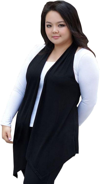 colorFino Women's Open Front PlusSize Long Vest Sleeveless Cardigan