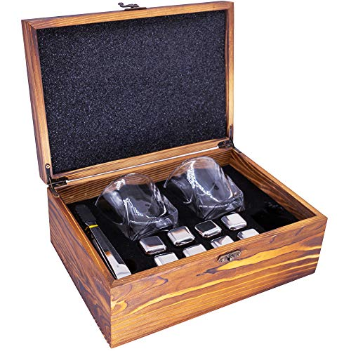 Whiskey Stones with Glasses Gift Set, 2 Glasses, 8 Stainless Steel Chilling Stones, 1 Thong, Wooden Elegant Gift Box for Drinking, Ideal Gift for Men Father Friend Boyfriend