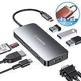 VANMASS USB C Hub 8 in 1 Aluminium 3 Chips Betrieb mit 4K HDMI, VGA, 3 x USB 3.0 Ports, Typr-C PD...