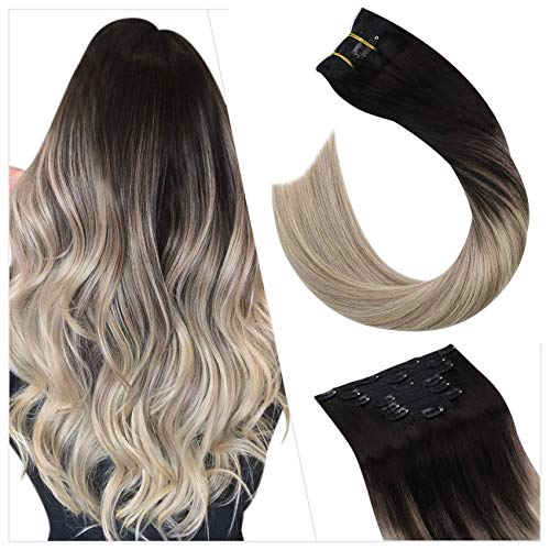 Ugeat Extension A Clip Cheveux Naturel Humain 20 Pouces Extension A Clip Cheveux Naturel 7pcs 100gramme Clip in Hair Extensions Noir Fading to Blonde
