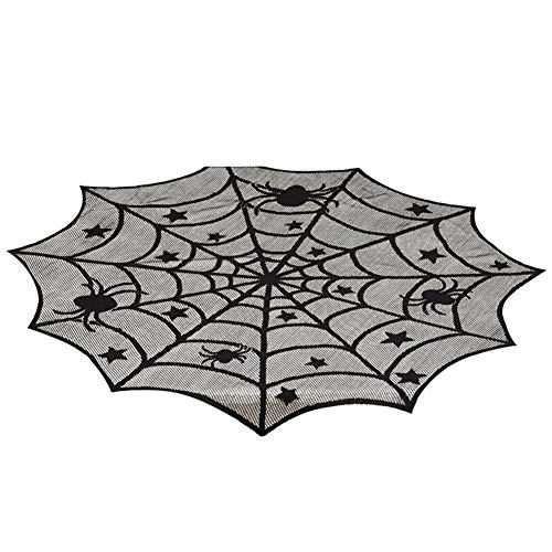 Redcolourful tafelkleed, rond, model spinnennet zwart 40 inch voor de decoratie van Halloween