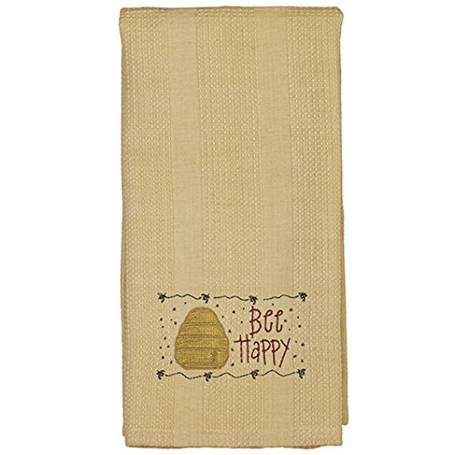 The Country House Collection Bee Happy Hive 19 x 28 All Cotton Embroidered Waffle Kitchen Towel