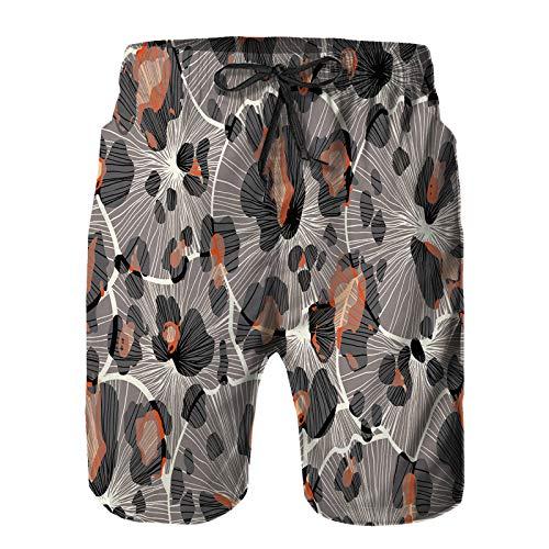 Hombres Verano Secado rápido Pantalones Cortos Playa patrón de Fondo Transparente con Estampado de Leopardo geométrico Trajes de baño Correr Surf Deportes-4XL
