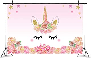 NANAO 7x5ft Cartoon Pink Unicorn Background Birthday Party Banner Sweet Flowers Backdrop Kid Baby Shower Infant Newborn Gi...