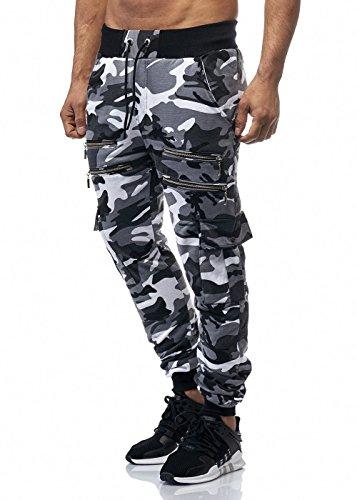 Cabin Herren Camouflage Zip Sporthose Jogginghose Pocket Grau S