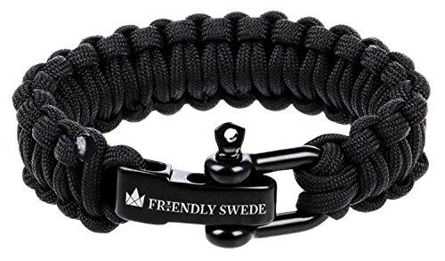 The Friendly Swede - Pulsera de Supervivencia, Cuerda de paracaídas, Cierre de Acero Inoxidable en D, Ajustable, Resistencia de hasta 159 kg, 22,86 cm, Incluye Embalaje Black 1 Talla:9-Inch