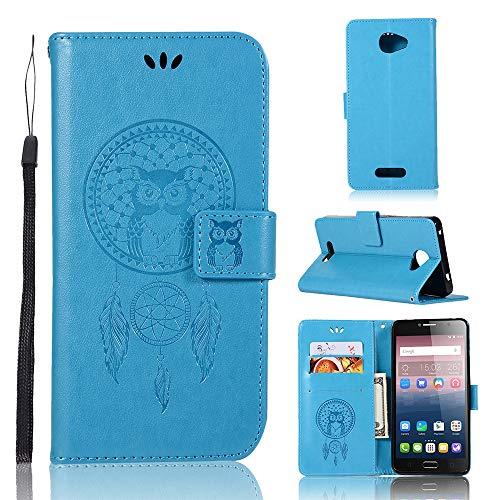 JARNING Kompatibel mit Alcatel One Touch Pop 4S Leder Schutzhülle PU Leder Wallet Flip Case Tasche Lederhülle mit Kartenfach für Alcatel One Touch Pop 4S (blau)