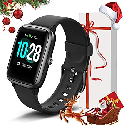 """Lintelek Smart Watch with 1.3"""" LCD Full Touch Screen, Large Screen Fitness Tracker with Heart Rate Monitor, Pedometer, Sleep Tracker, Waterproof Activity Tracker for Men, Women and Gift"""