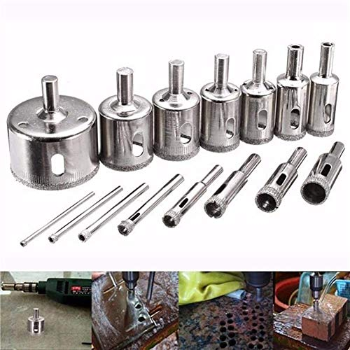 LHHZAL Hole Opener Drill 3-45mm 15pcs Diamond Coated Core Hole Saw Drill Bit for Marble Tile Drill Accessories Drill Tolls