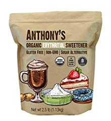 USDA Certified Organic Erythritol Granular Natural Sweetener Batch tested and verified gluten-free and Sulphur Dioxide Free Zero Calorie Sugar Substitute, Vegan, Keto & Paleo Friendly 70% as Sweet as Table Sugar with Virtually Zero Calories Use in pl...