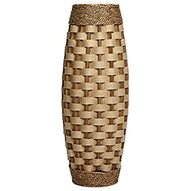 Hosley's 24  High Wood and Grass Floor Vase. Ideal Gift for Weddings, Home Decor, Long dried Floral, Spa, Aromatherapy, Umbrella / Cane Stand O6