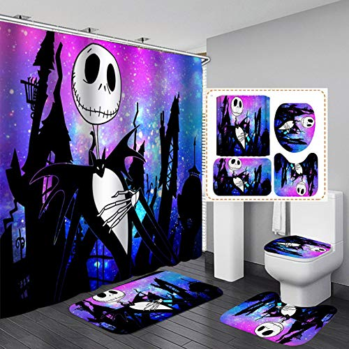 JOLEYCOR 4 Pcs Nightmare Before Christmas Shower Curtain Sets with Non-Slip Rugs,Toilet Lid Cover and Bath Mat,Jack and Sally Waterproof Polyester Bath Curtain with 12 Hooks