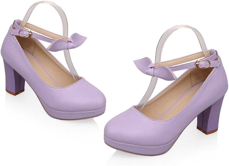 Super High Heel Women Thin shoes Platform Buckle Round purple 39