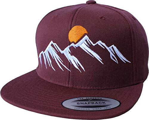 Outdoor Cap: Mountain View - Flexfit Snapback - Berg-steigen Klettern Bouldern Sport Wandern Camping - Urban Streetwear Basecap - Geschenk Männer Mann Frau-en - Baseball-Cap Mütze Kappe (One Size)