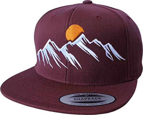 Outdoor Cap: Mountain View - Flexfit Snapback - Berg-steigen Klettern Bouldern Sport Wandern Camping - Urban Streetwear Basecap - Geschenk Männer Mann Frau-en - Baseball-Cap Mütze...