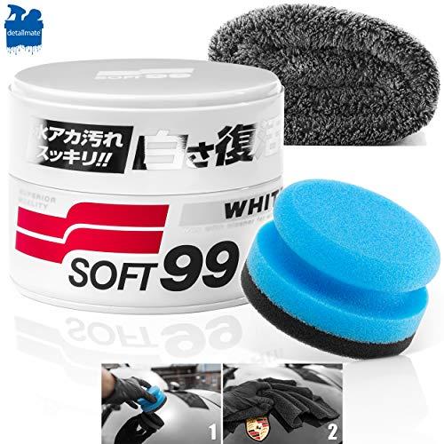 detailmate Soft99 Auto Politur Set für helle Lacke - White Soft Wax Auto Hartwachs, für weiße/helle Autolacke 300 g + Handpolierschwamm Applikator + Mikrofaser Poliertuch 550GSM 40x40cm