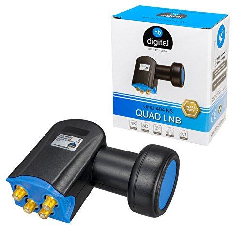 HB-DIGITAL Quad Ultra LNB LNC 4 Teilnehmer Direkt ✨ Full HD TV 3D 4K Schwarz Black ■ Kontakte vergoldet ■ Wetterschutz (ausziehbar)
