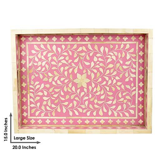GAURI KOHLI mooie hand gemaakt bot Inlay decoratieve lade in heldere baby roze kleur (groot formaat | 20