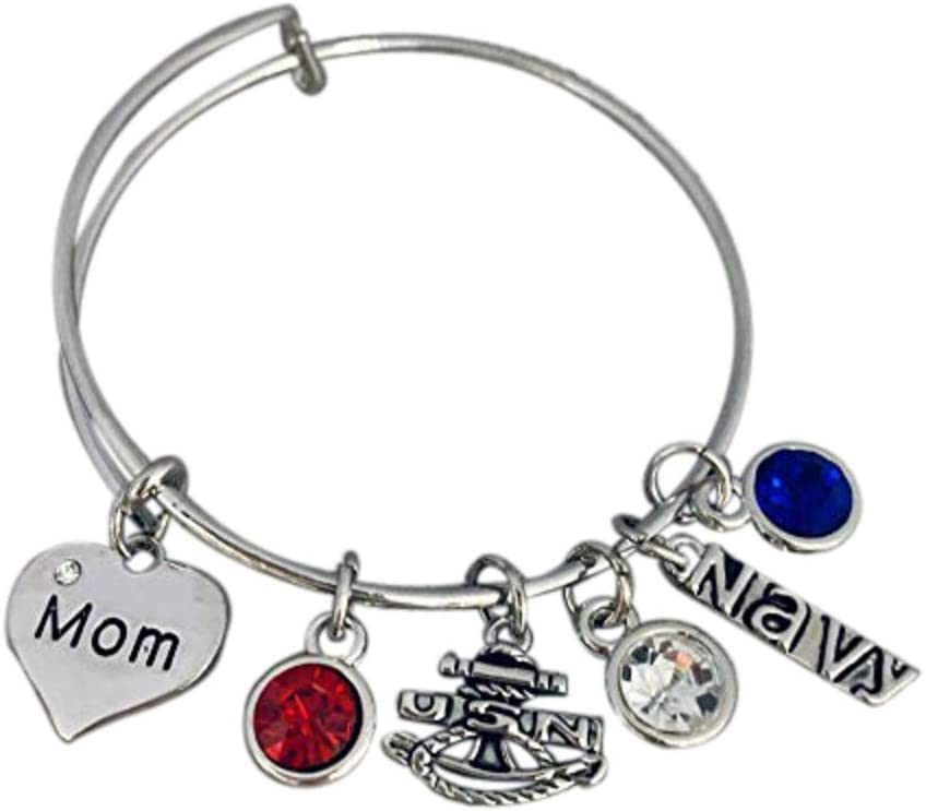Infinity Collection Navy Mom Charm Bangle Bracelet, Proud Navy Mom Jewelry for Military Moms