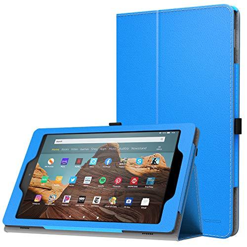 MoKo Hülle für Das Neue Amazon Fire HD 10 Tablet (9. Gen 2019 und 7. Gen 2017 Model), Kunstleder Ständer Schutzhülle Smart Cover Auto Sleep/Wake up für Fire HD 10,1 Zoll Tablette, Blau