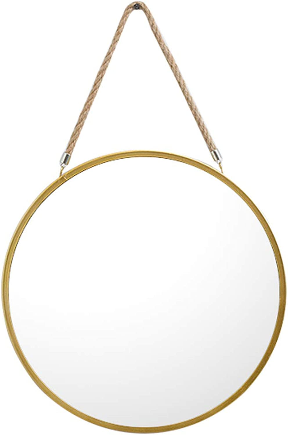 Circle Bathroom Mirror Wall Hanging Mirror Hemp Rope Metal Frame Makeup Decorative Dressing Vanity Living Room Bedroom Hallway (40CM)