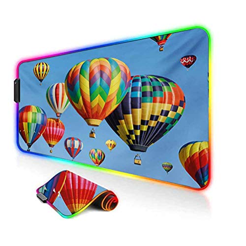 RGB Gaming Mouse Pad,Nostalgic Hot Air Balloons in Sky Flying Journey Fun Adventure Traditional Hobby Theme Soft Computer Keyboard Mouse Pad,35.6'x15.7',for MacBook,PC,Laptop,Desk Blue