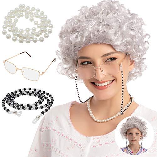 Peluca Set de Abuelita Gris Rizada para Adultos / Niños con Casquillo de Peluca, Gafas, Cadena para Gafas y Collar de Perlas, Disfraz de Anciana