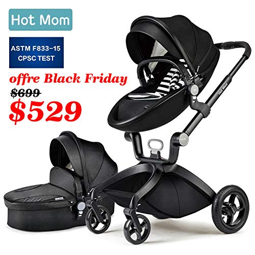 Baby Stroller 2020, Hot Mom Baby Carriage with Bassinet Combo,Black