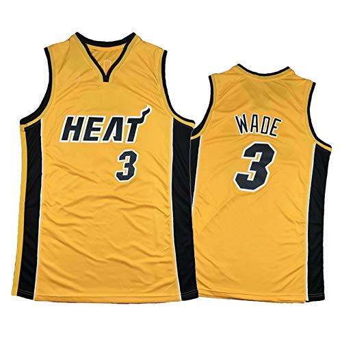 TYYD Camiseta de baloncesto Butler 22# Adebayo 13# Herro 14# Wade 3# de malla amarilla regalo para hombres y mujeres, con estrellas de balón, camiseta de baloncesto Wade 3#-S