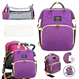 3 in 1 Diaper Bag Backpack with Changing Station, Travel Bassinet Foldable Baby Bed, Portable Crib, Mummy Bag, Large Capacity, Waterproof, Multi-Functional Baby Travel Bag Purple (Purple - New)