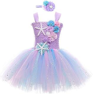 Cotrio Mermaid Tutu Dress Girls Mermaid Birthday Party Princess Dress Halloween Costume Outfits Toddler Kids Mermaid Starf...