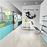 TJVXN Adesivo murale Camera da Letto Pet Grooming Salon Adesivo da Parete in Vinile Artist Wallpaper Murale Wall Sticker Home Decor 40X47Cm