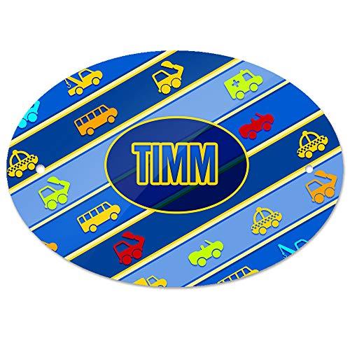 Eurofoto Türschild mit Namen Timm und Motiv mit Fahrzeugen - Bagger Auto Bus usw. - | Kinderzimmer-Schild