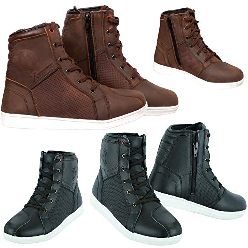 Motorcycle Boots Motorbike Rider Shoes Leather CE Armour Boot Motorcycle Men Waterproof Shoes Sneaker Fashion for Men Boys Brown Color with 4 Free Laces (Brown, 9, Numeric_9)