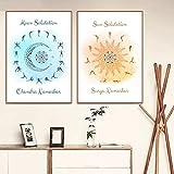 Leinwand Malerei Sonnengruß Mondgruß Himmlische Poster