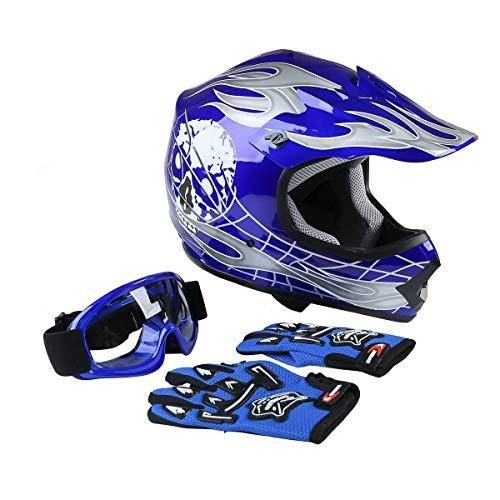 TCMT Dot Youth & Kids Motocross Offroad Street Motorcycle Dirt Bike Motocross ATV Helmet Blue Skull with Goggles Gloves (XL)