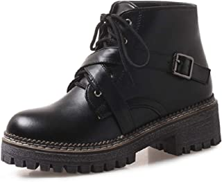 Nafanio Women's Platform Combat Boots Round Toe Punk Belt Buckle Lace Up Low Chunky Heel Ankle Booties