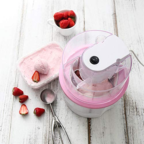 FDSFD 700Ml Home DIY Homemade Ice Cream Smoothie Machine, Double-Walled Insulated Freezer Bowl, Non-Slip Rubber Bottom, Healthy Safe Hygiene Leakproof, Pink