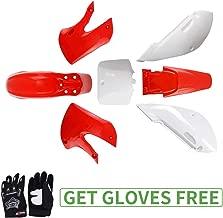 KLX110 Plastic Kit Fairing fender Kit for Kawasaki KX60 Suziki DRZ110 Pit Dirt Bike, Red & White, Black Gloves