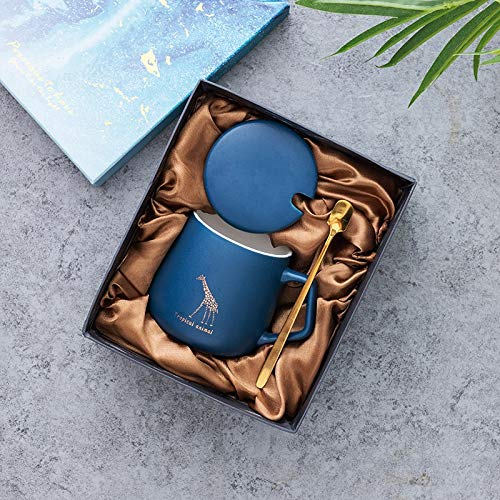 WLLL Coffee Sets 2 Piece Gekleurde Cappuccino Cup - Modern Style Porcelain Thee en koffie - 250ml (Color : Blue, Size : 9.5 * 7.7cm)