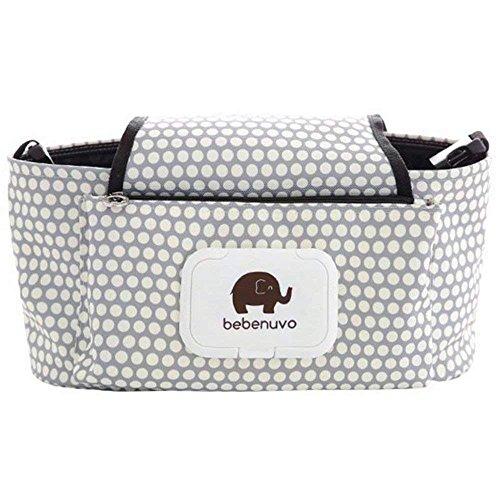 Universal Fit poussette Organisateur avec deux porte-gobelet isolés meilleur cadeau pour bébé Douche Organiser Accessoires bébé Crochets Bonus et sangle d'épaule