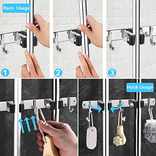 Mop Broom Holder Wall Mount Organizer Storage, Easy Install Screws or Self Adhesive Stainless Steel Tools Hanger for…