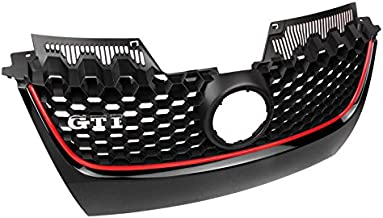 ZMAUTOPARTS For VW GTI Gli Jetta MK5 Front Main Hex Mesh Bumper Center Grille W/Red Strip