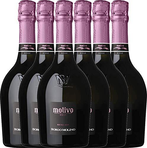 6er Weinpaket Italien - Motivo Rosé extra dry - Borgo Molino mit VINELLO.weinausgießer | prickelnder Spumante | italienischer Schaumwein aus Venetien | 6 x 0,75 Liter